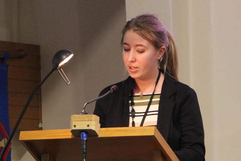 Youth synod member Jessica Lee asks synod to save the historic cathedral for her and her future children.