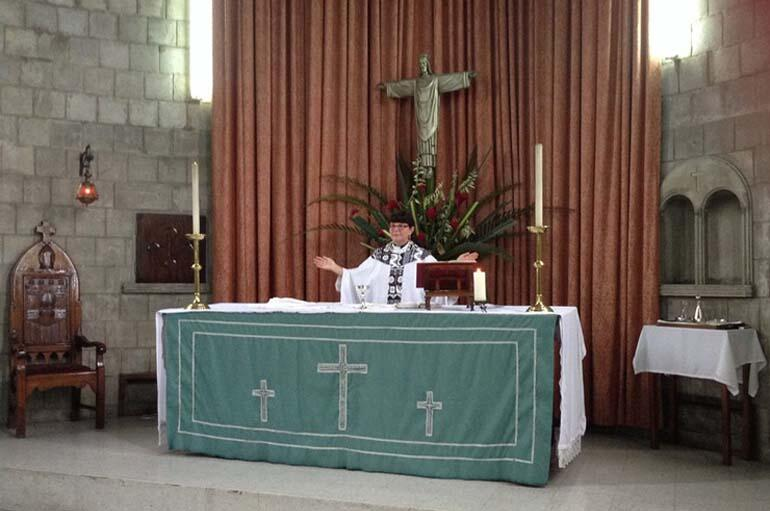 Archdeacon Carol Hughes celebrating at a service of remembrance for Dean Lynda Patterson in Holy Trinity Cathedral, Suva.