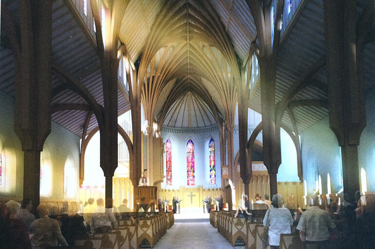 An artist's impression of the interior of the rebuilt cathedral, as envisaged by Sir Miles Warren.