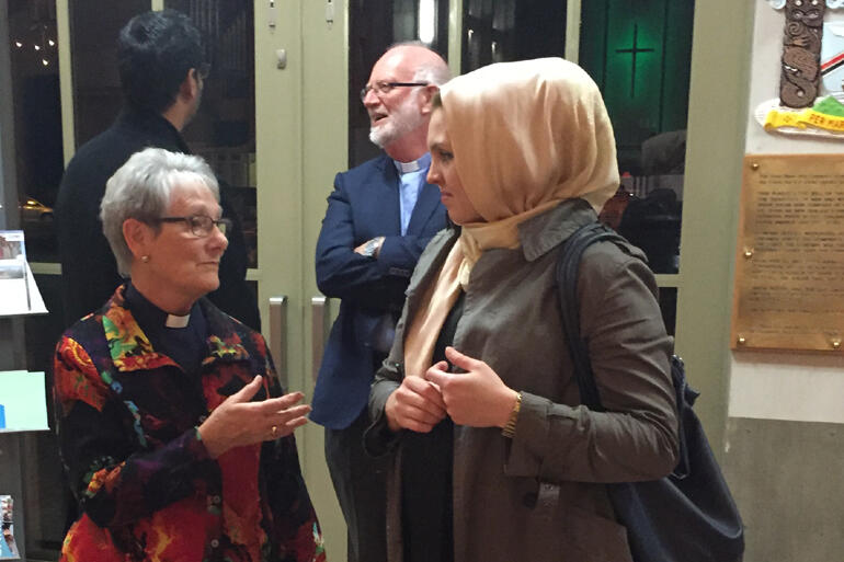 Holy Trinity cathedral co-priest in charge Rev Diane Miller-Keeley talks with Shia Muslim -Christian Council member, Aeliya Hayat.