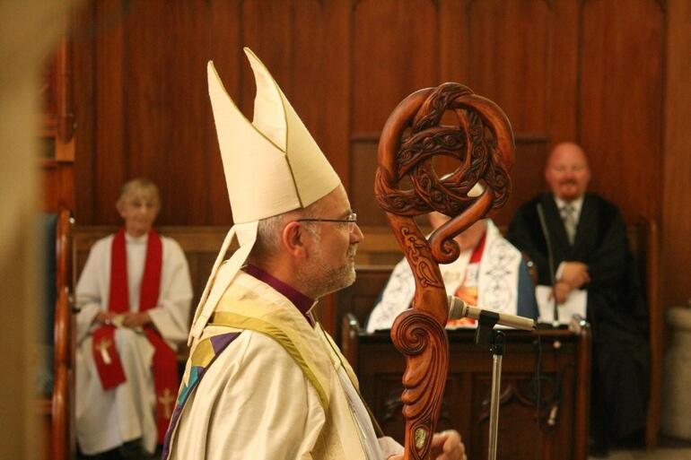 The Bishop's new crozier was designed and carved by Hugh Prebble of Oamaru.