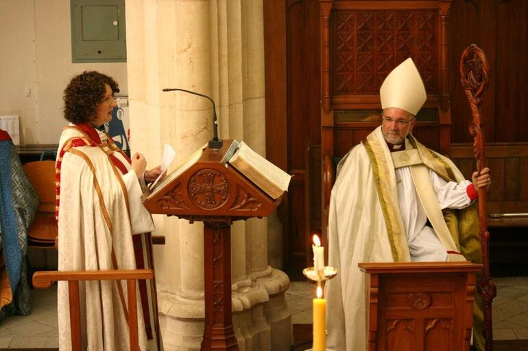 The Rev Helen Wilderspin presents the diocese's warm wishes to its new bishop.