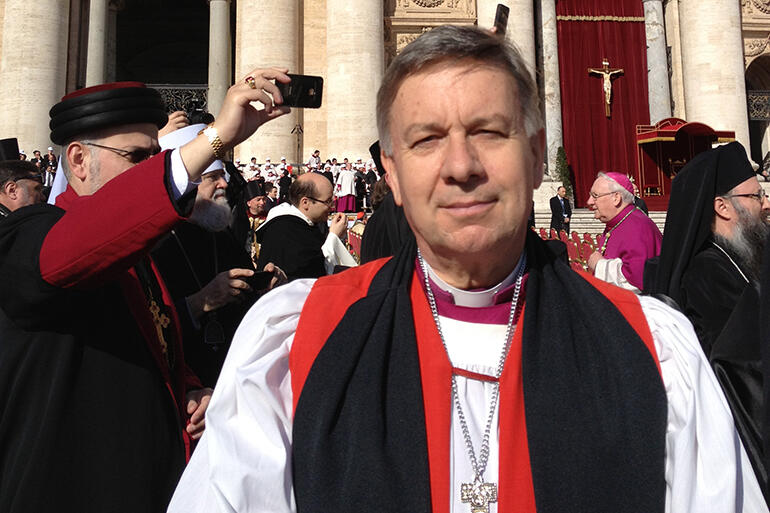 Our new knight: Archbishop Sir David Moxon in St Peter's Square in Rome.