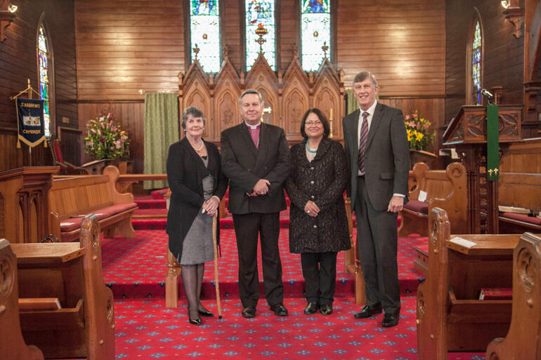 Archbishop David Moxon and Tureiti Moxon with Selwyn Board Chair, Kay Hawk, and Selwyn CEO, Garry Smith at St Andrew's.