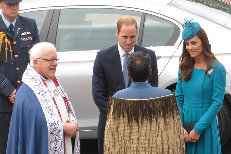 The royal couple with Dean Trevor James outside the Cathedral.