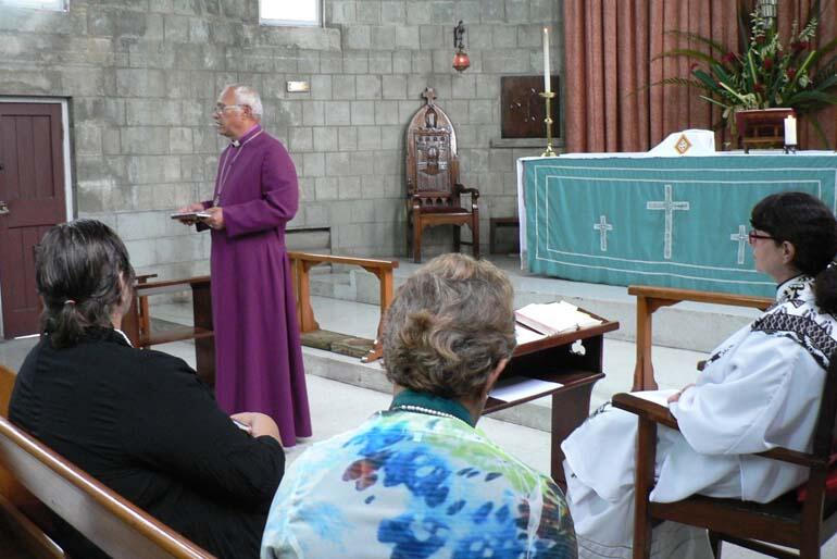 Archbishop Winston Halapua speaks during the remembrance service for Lynda Patterson in Holy Trinity Cathedral, Suva.