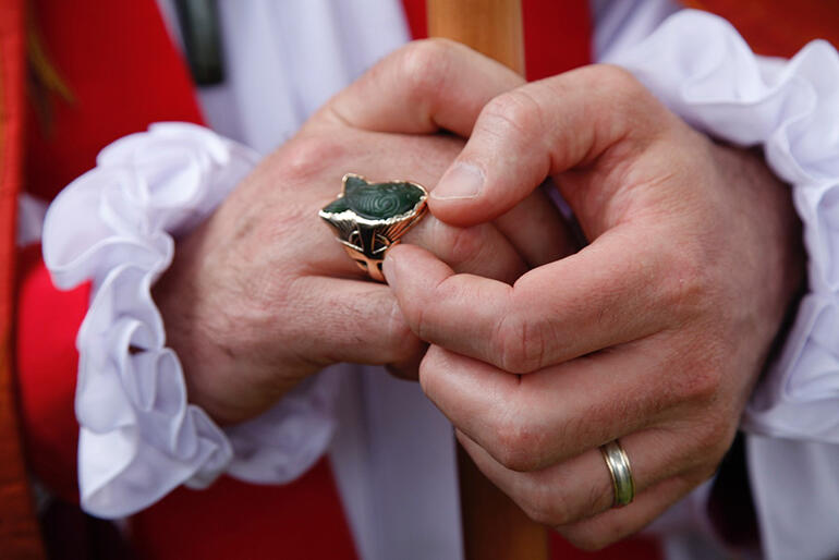 Bishop Andrew Hedge's new episcopal ring was a gift from the parish of Cambridge.