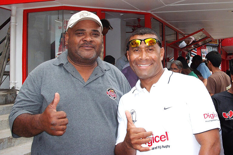 File photo: Harold with Waisale Serevi, widely considered to be the greatest rugby sevens player in the history of the game.