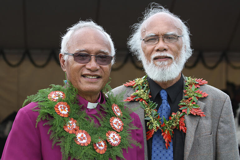 Archbishop Winston alongside his brother, Professor Sitiveni Halapua, who returned from Honolulu's East-West Centre to become an MP in Tonga.
