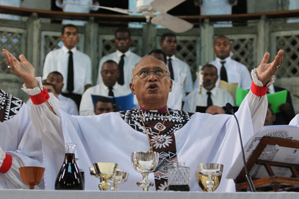 Archbishop Winston celebrated the eucharist with Bishops Api Qiliho and Gabriel Sharma.