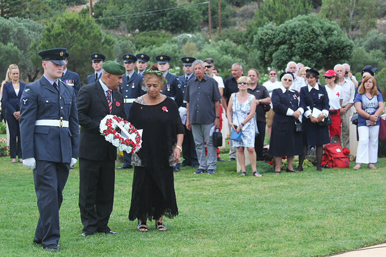 May and Colenso prepare to lay a wreath in honour of the fallen of the 28 Maori Battalion at Souda Bay War Cemetery.