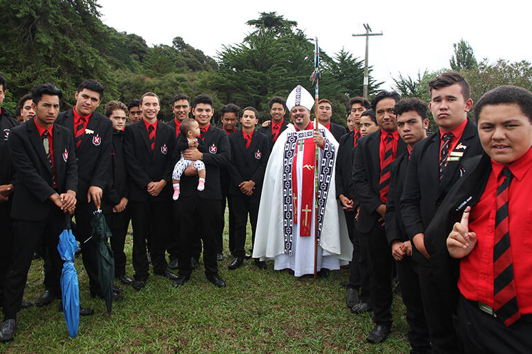 Bishop Don Tamihere - with young men from Te Aute College after his ordination last March at Waiomatatini Marae.