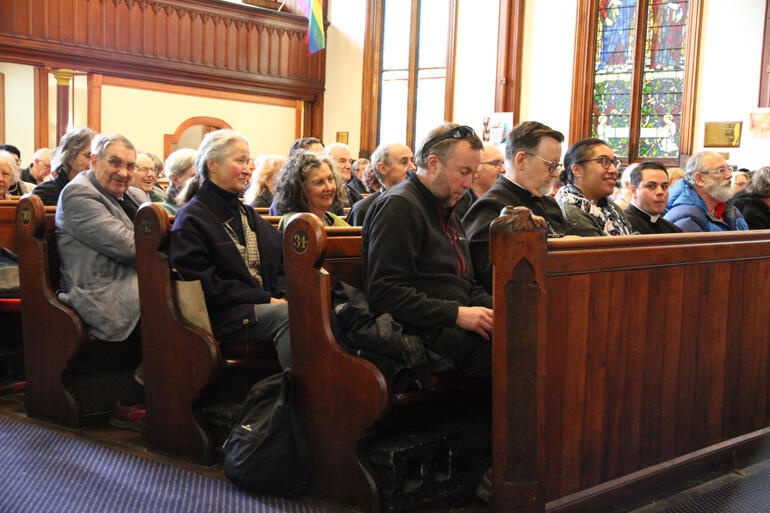 Anglo-Catholic Hui members listen to Bishop Stephen Cottrell at St Peter's on Willis.