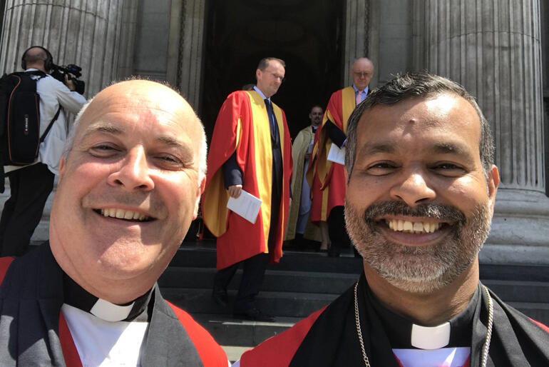 Anglo-Catholic hui keynote speaker Bishop Stephen Cottrell (left) is pictured with Bishop of Bradwell, John Perumbalath in July 2018.