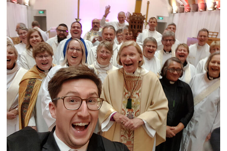 Surprise! The Diocese of Christchurch's Alex Summerlee leaps into the frame to snap a selfie ahead of the formal portraits.