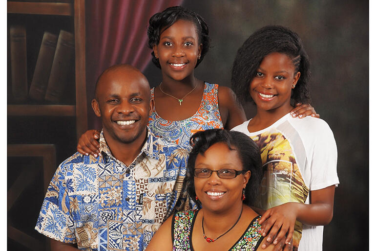 Steve and Watiri Maina with their daughters Rinna, who is 18, and Tanielle, who is 15.