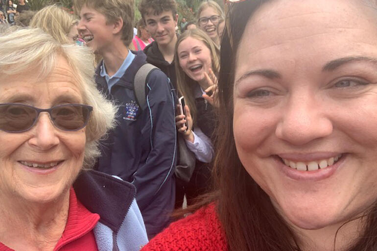 Joy Wright and Rachel Boyack take an Anglican selfie at the Nelson climate strike.