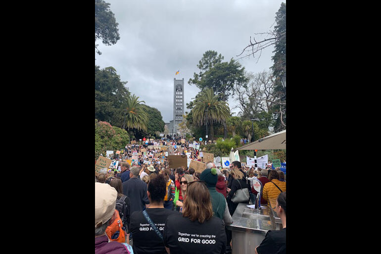 Nelson people occupy the cathedral hill steps for the school strike for climate.