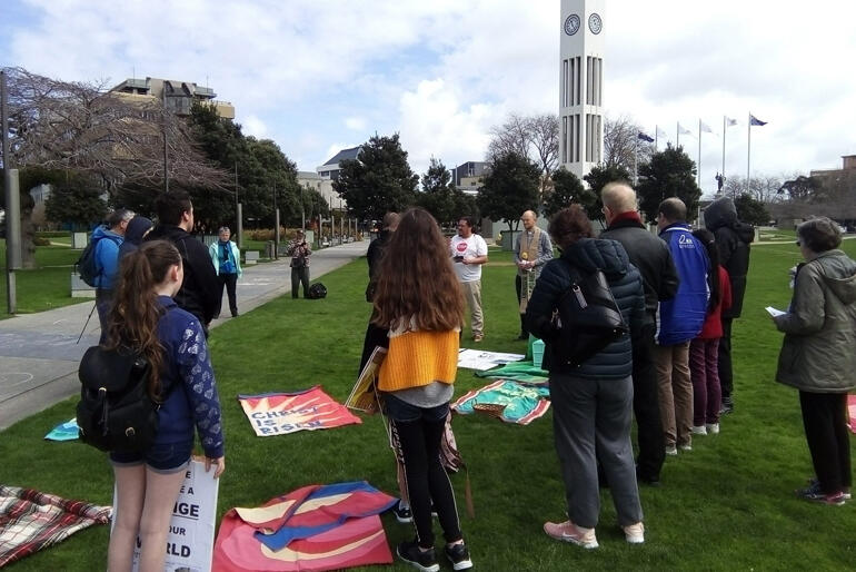 Rev Amy Houben(S. Matthew's)  and Rev Andy Hickman (All Saints') lead a climate vigil Eucharist in Palmerston North.