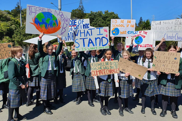 Students from Wellington's Samuel Marsden College show their handiwork on 27 September. Photo: Sarah King
