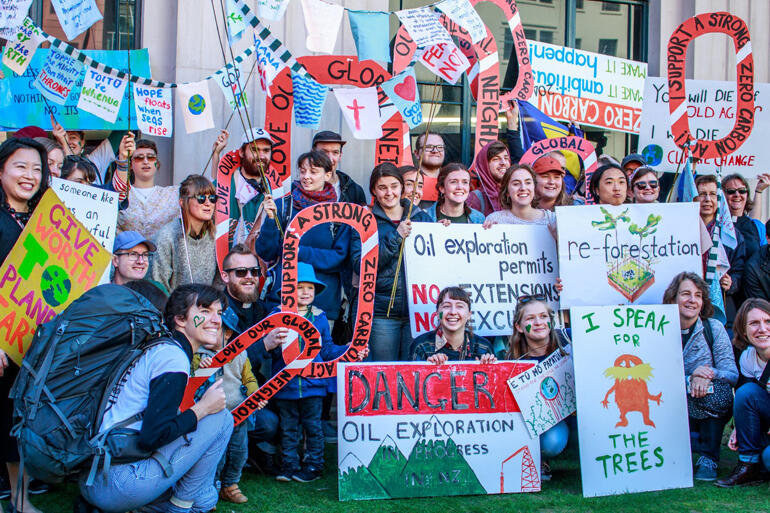 Wellington Anglicans brought their 'zero carbon' message out loud and clear on the nationwide day of school strikes for climate on 27 September.