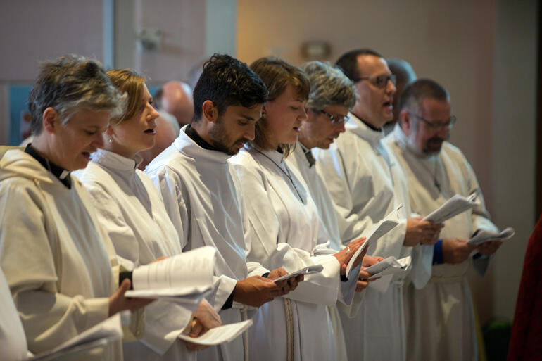 Ordinands line up to begin their solemn vows. Photo: John Setter