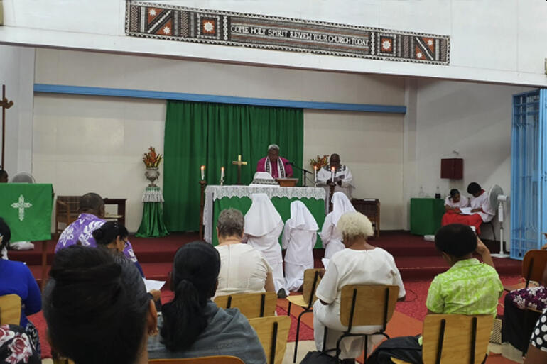 Bishop of Polynesia, Archbishop Fereimi Cama leads a service to formally receive Miliva Toariki as a Moana Community of St Clare postulant in 2020.