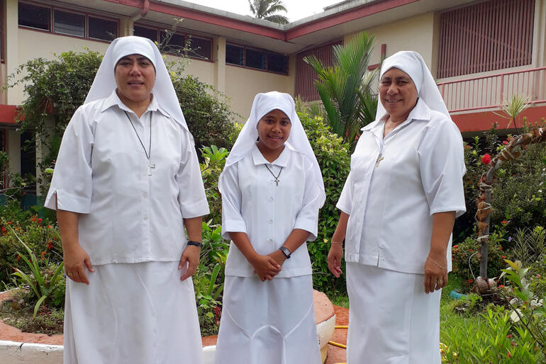 Sr Kalolaine, Moana Community of St Clare postulant Miliva Toariki and Sr Longo outside one of the buildings at St Christopher's Home.