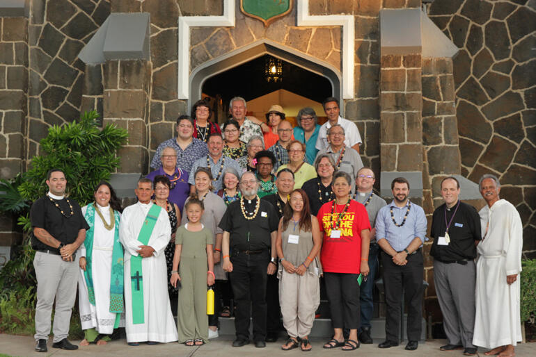 Members of the Anglican Indigenous Network line up after a Eucharist at Epiphany Church Kaimuki, Honolulu. Photo: Bruce Hanohano/Diocese of Hawai'i.