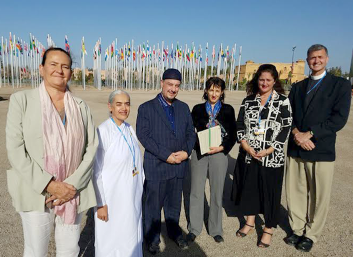 Representatives of global faith groups get ready to present the Cop22 Interfaith Climate Statement at the UN Climate talks in Marrakech today.