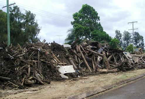 A pile of flood debris on the roadside at Grantham.