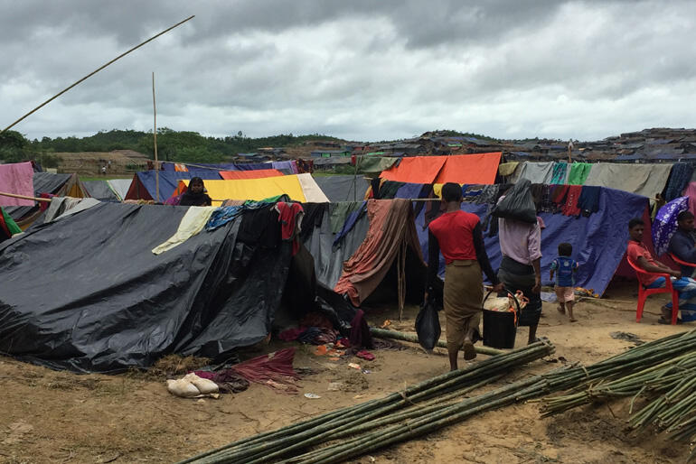 CWS partners in the ACT Alliance are providing makeshift shelter, plus food, hygiene items and medical care for Rohingya people. Photo:Christian Aid.