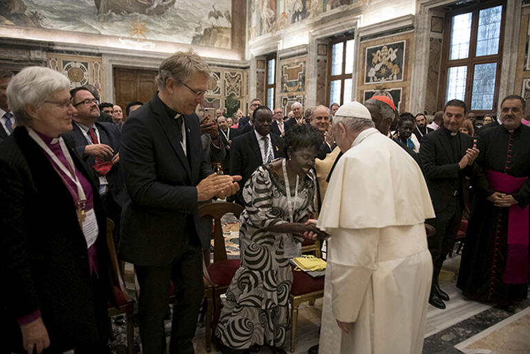 Moderator of WCC Central Committee, Dr Agnes Aboum meets His Holiness Pope Francis after the World Conference on Xenophobia/Photo:VaticanMedia.